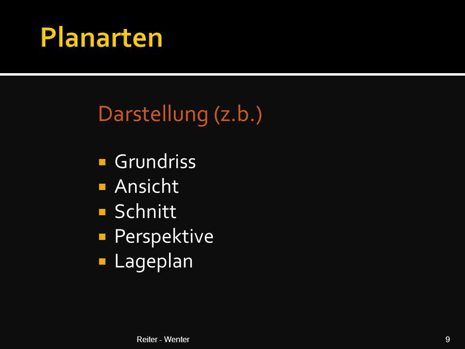  Zimmermann (Werksatz) Lage DFL  Gründach (Bepflanzungsplan)  Fenster / Glasfassaden - (Teilungsplan, Flügel)  Fassadenverkleidung (Farben, Teilungen, Rolläden)  Estrich (Festlegung OK, Fugen)  Bodenbeläge (Materialfestlegung, Verlegerichtung )  Naturstein (Fugenteilung)  Doppelböden Reiter - Wenter50