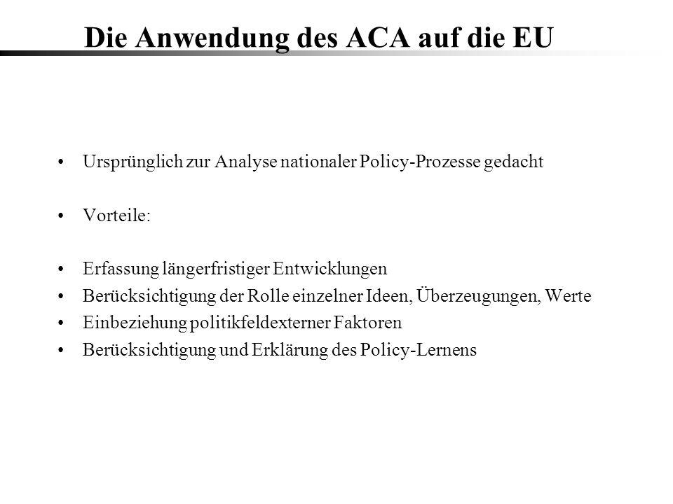 Die Anwendung des ACA auf die EU Ursprünglich zur Analyse nationaler Policy-Prozesse gedacht Vorteile: Erfassung längerfristiger Entwicklungen Berücks