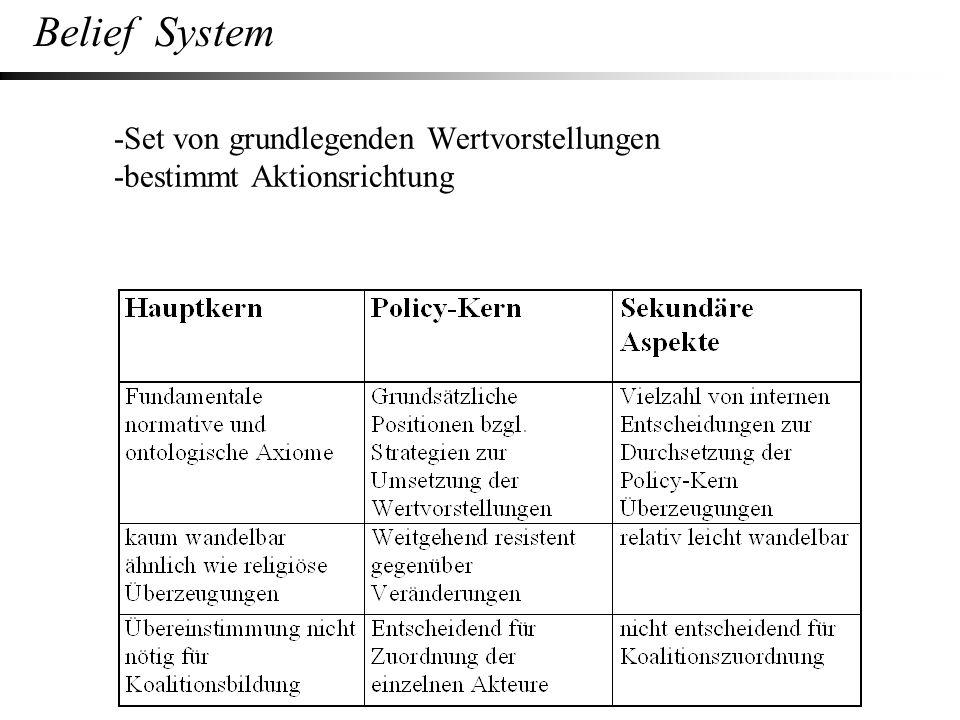 -Set von grundlegenden Wertvorstellungen -bestimmt Aktionsrichtung Belief System