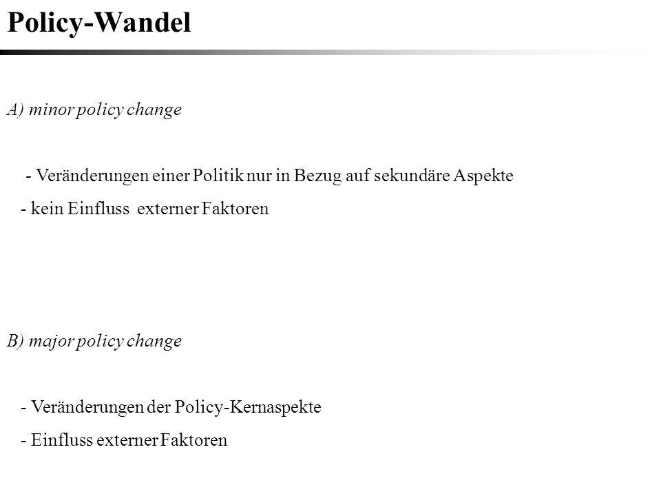 Policy-Wandel A) minor policy change - Veränderungen einer Politik nur in Bezug auf sekundäre Aspekte - kein Einfluss externer Faktoren B) major polic