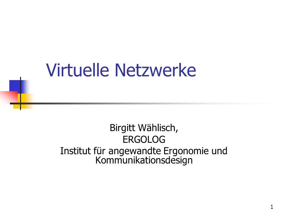 1 Virtuelle Netzwerke Birgitt Wählisch, ERGOLOG Institut für angewandte Ergonomie und Kommunikationsdesign
