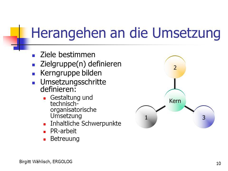 Birgitt Wählisch, ERGOLOG 10 Herangehen an die Umsetzung Ziele bestimmen Zielgruppe(n) definieren Kerngruppe bilden Umsetzungsschritte definieren: Ges