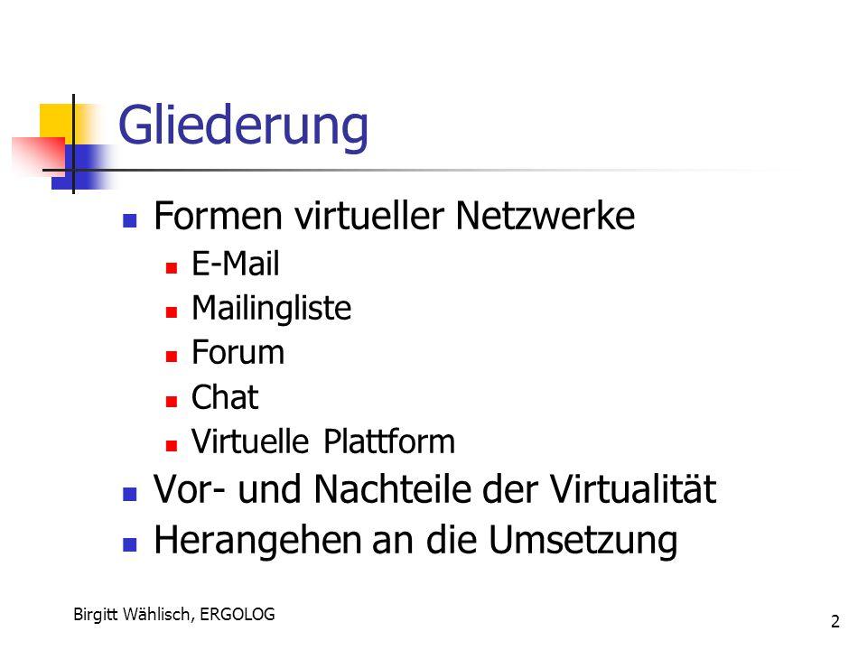 Birgitt Wählisch, ERGOLOG 2 Gliederung Formen virtueller Netzwerke E-Mail Mailingliste Forum Chat Virtuelle Plattform Vor- und Nachteile der Virtualit