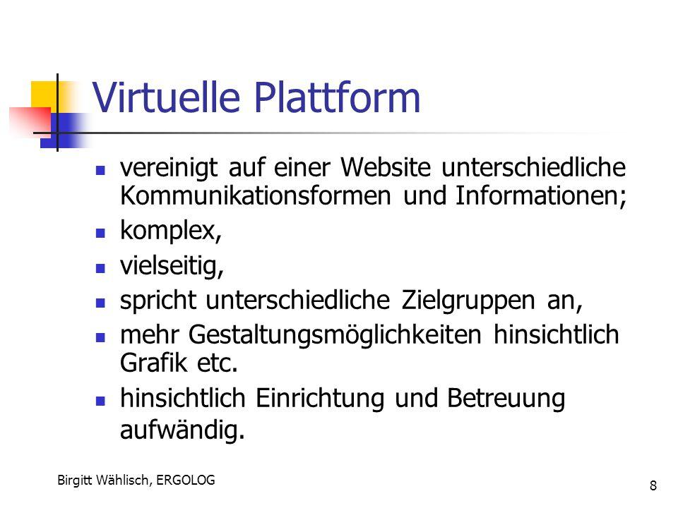 Birgitt Wählisch, ERGOLOG 8 Virtuelle Plattform vereinigt auf einer Website unterschiedliche Kommunikationsformen und Informationen; komplex, vielseit