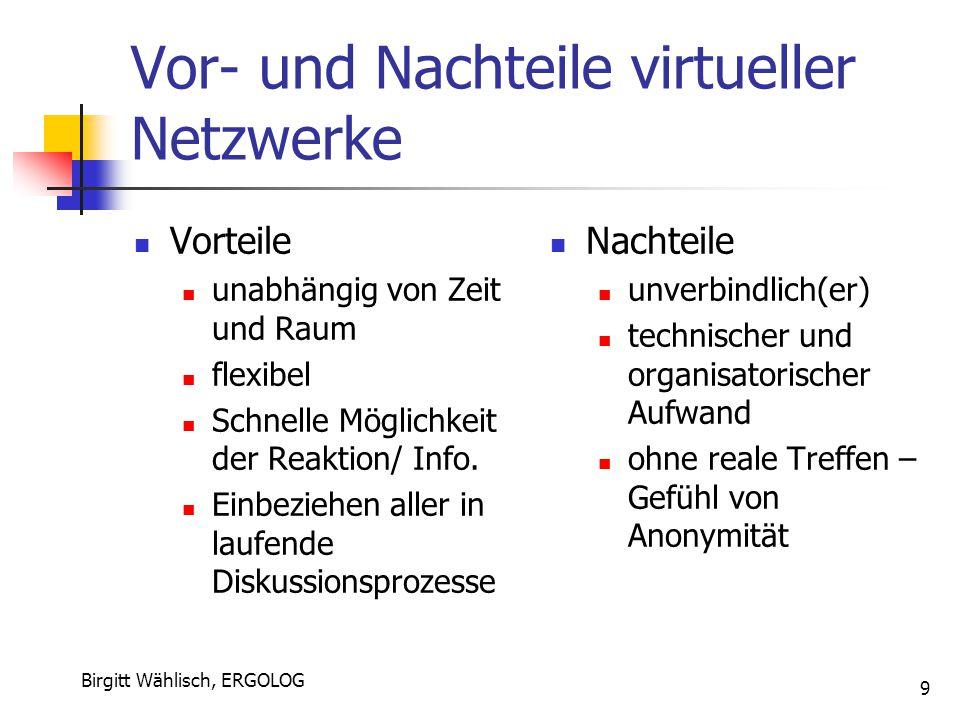 Birgitt Wählisch, ERGOLOG 9 Vor- und Nachteile virtueller Netzwerke Vorteile unabhängig von Zeit und Raum flexibel Schnelle Möglichkeit der Reaktion/