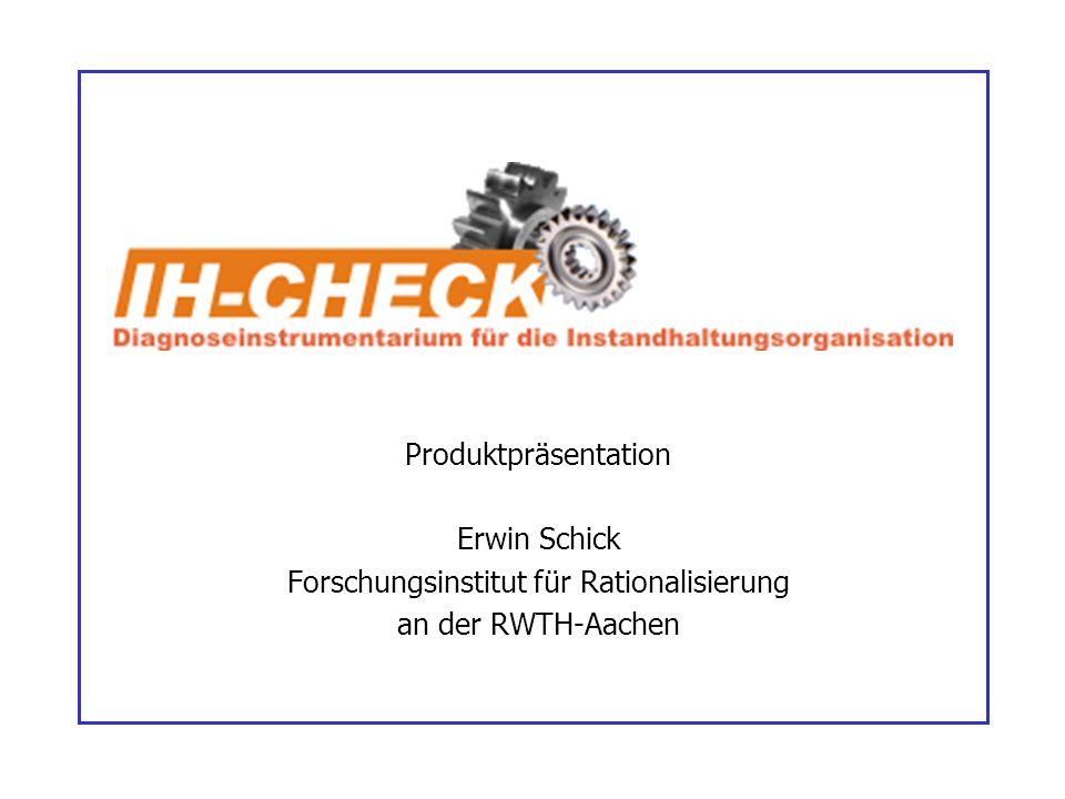 Produktpräsentation Erwin Schick Forschungsinstitut für Rationalisierung an der RWTH-Aachen