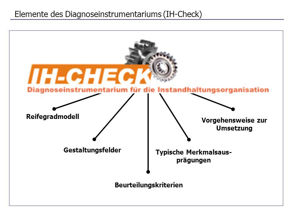 Elemente des Diagnoseinstrumentariums (IH-Check) Vorgehensweise zur Umsetzung Reifegradmodell Gestaltungsfelder Beurteilungskriterien Typische Merkmal