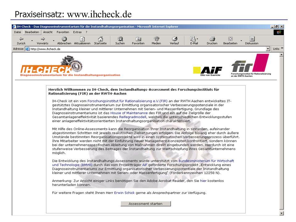 Praxiseinsatz: www.ihcheck.de