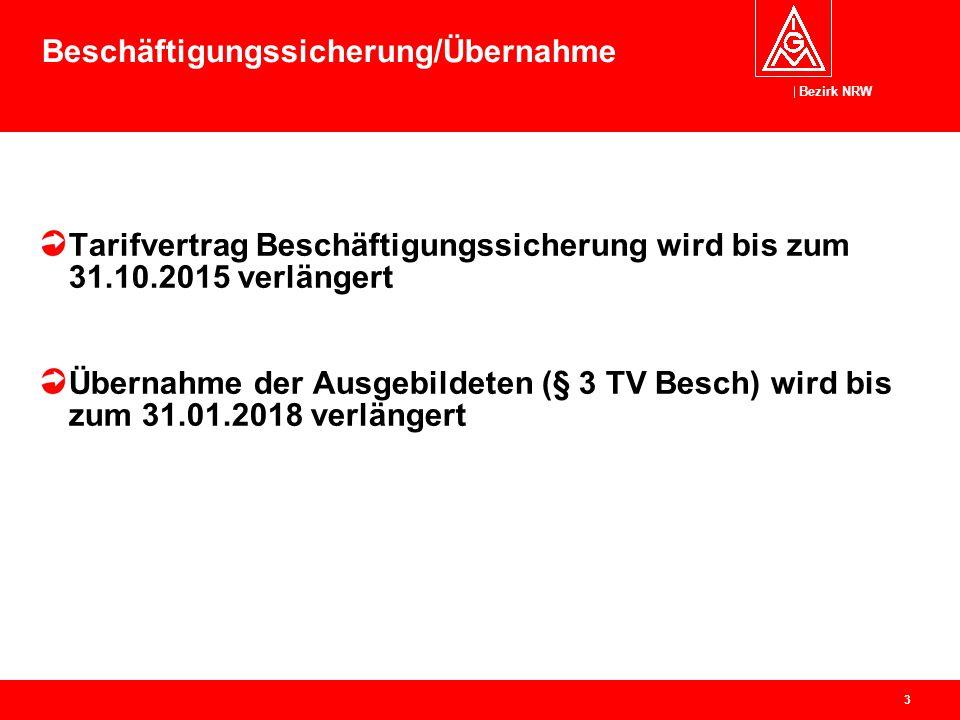 Bezirk NRW 3 Beschäftigungssicherung/Übernahme Tarifvertrag Beschäftigungssicherung wird bis zum 31.10.2015 verlängert Übernahme der Ausgebildeten (§
