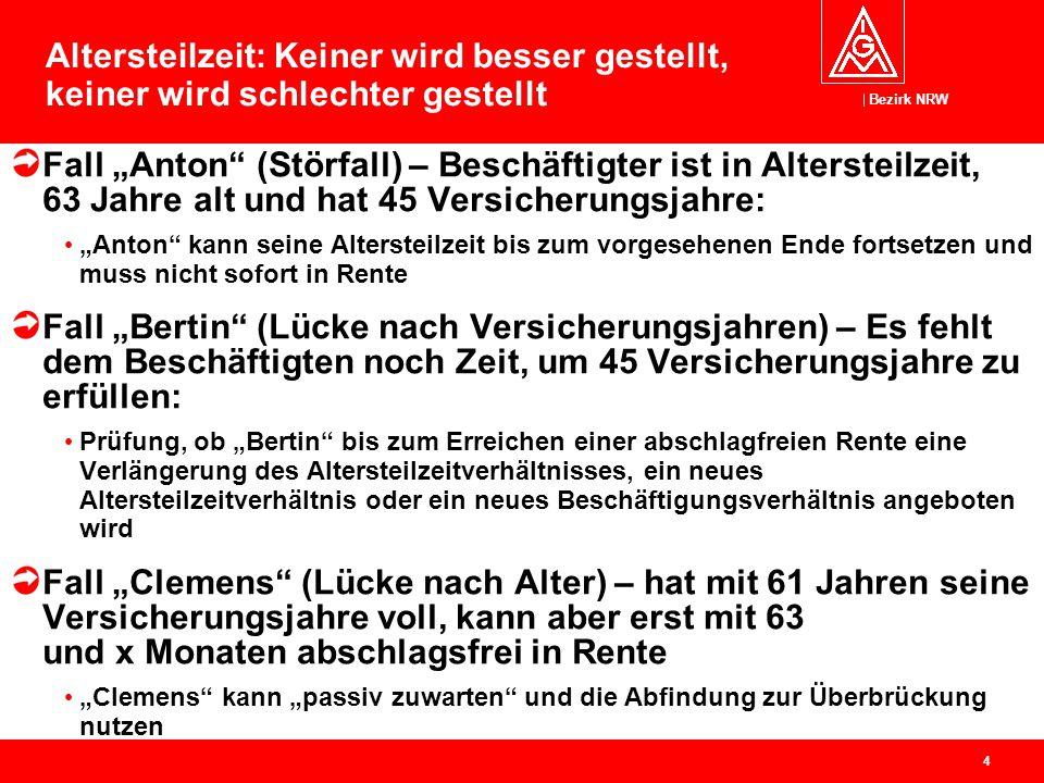"""Bezirk NRW 4 Altersteilzeit: Keiner wird besser gestellt, keiner wird schlechter gestellt Fall """"Anton"""" (Störfall) – Beschäftigter ist in Altersteilzei"""
