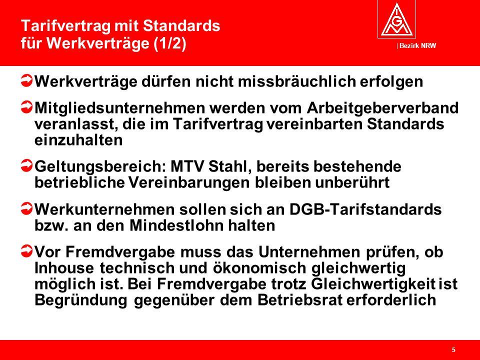 Bezirk NRW 5 Tarifvertrag mit Standards für Werkverträge (1/2) Werkverträge dürfen nicht missbräuchlich erfolgen Mitgliedsunternehmen werden vom Arbei