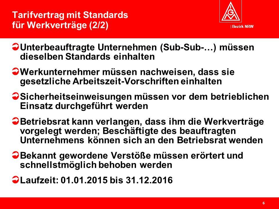 Bezirk NRW 6 Tarifvertrag mit Standards für Werkverträge (2/2) Unterbeauftragte Unternehmen (Sub-Sub-…) müssen dieselben Standards einhalten Werkunter
