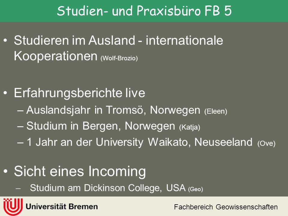 Fachbereich Geowissenschaften ERASMUS Bewerbung 15.