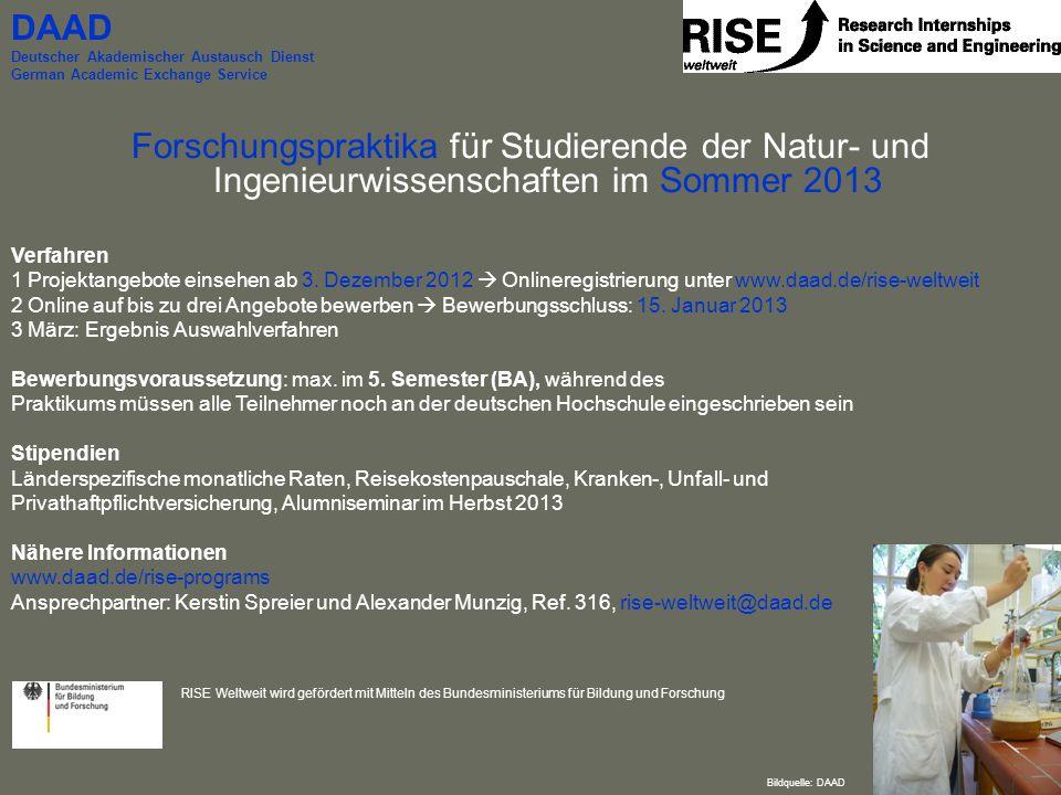 Forschungspraktika für Studierende der Natur- und Ingenieurwissenschaften im Sommer 2013 Verfahren 1 Projektangebote einsehen ab 3. Dezember 2012  On