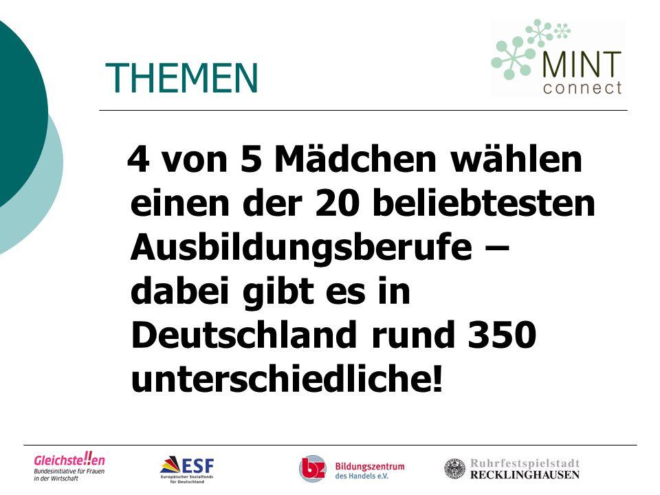 THEMEN 4 von 5 Mädchen wählen einen der 20 beliebtesten Ausbildungsberufe – dabei gibt es in Deutschland rund 350 unterschiedliche!