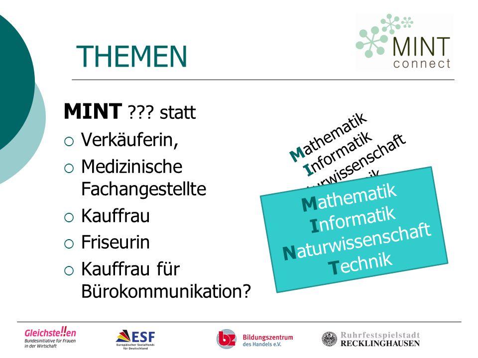 THEMEN MINT:  Feinwerkmechanikerin  Medientechnologin  Chemielaborantin  Zweiradmechanikerin  Informatikkauffrau etc.