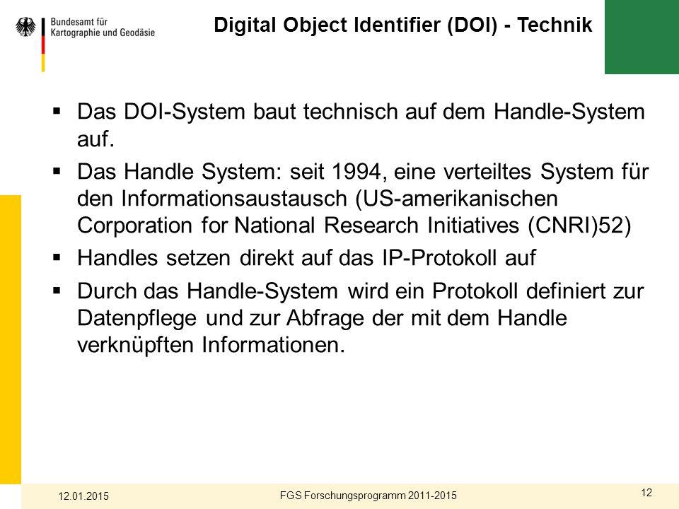 12 Digital Object Identifier (DOI) - Technik  Das DOI-System baut technisch auf dem Handle-System auf.  Das Handle System: seit 1994, eine verteilte