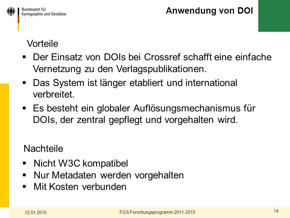 14 Anwendung von DOI  Der Einsatz von DOIs bei Crossref schafft eine einfache Vernetzung zu den Verlagspublikationen.  Das System ist länger etablie