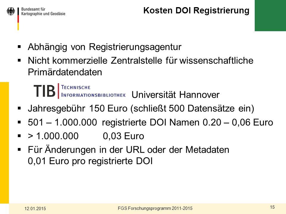15 Kosten DOI Registrierung  Abhängig von Registrierungsagentur  Nicht kommerzielle Zentralstelle für wissenschaftliche Primärdatendaten Universität