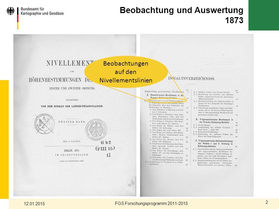 2 Beobachtung und Auswertung 1873 FGS Forschungsprogramm 2011-2015 12.01.2015 Beobachtungen auf den Nivellementslinien