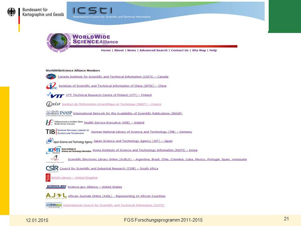 21 FGS Forschungsprogramm 2011-2015 12.01.2015