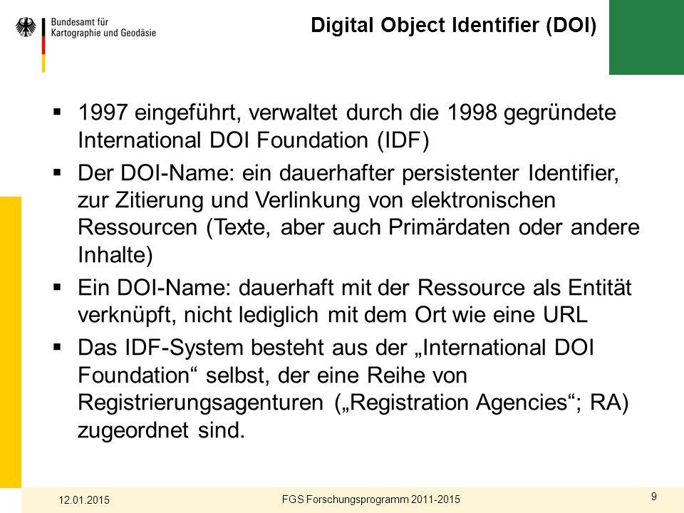9 Digital Object Identifier (DOI)  1997 eingeführt, verwaltet durch die 1998 gegründete International DOI Foundation (IDF)  Der DOI-Name: ein dauerh