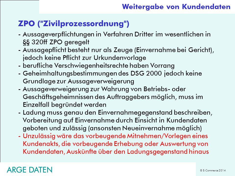 © E-Commerce 2014 ARGE DATEN ZPO (