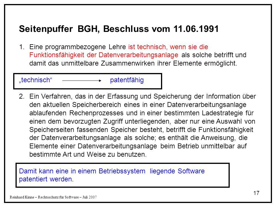17 Seitenpuffer BGH, Beschluss vom 11.06.1991 1.Eine programmbezogene Lehre ist technisch, wenn sie die Funktionsfähigkeit der Datenverarbeitungsanlag