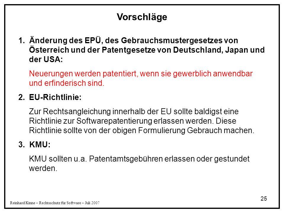 25 Reinhard Kinne – Rechtsschutz für Software – Juli 2007 Vorschläge 1. Änderung des EPÜ, des Gebrauchsmustergesetzes von Österreich und der Patentges