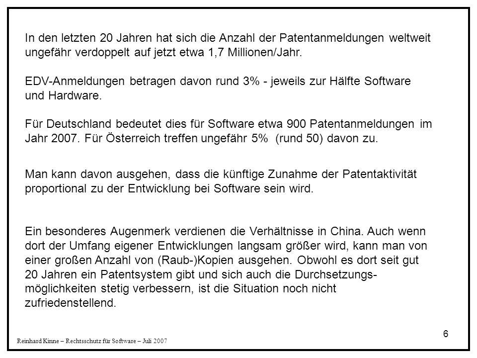 7 Reinhard Kinne – Rechtsschutz für Software – Juli 2007 1996 bis 2007 rd. 50-fache Anmeldezahl