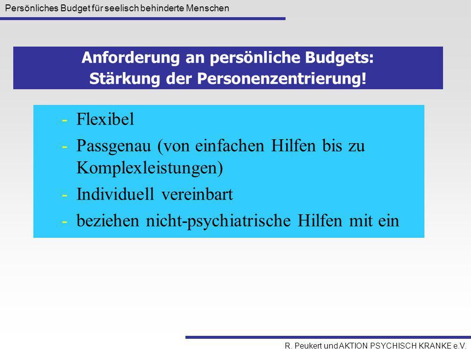 Persönliches Budget für seelisch behinderte Menschen R. Peukert und AKTION PSYCHISCH KRANKE e.V. -Flexibel -Passgenau (von einfachen Hilfen bis zu Kom