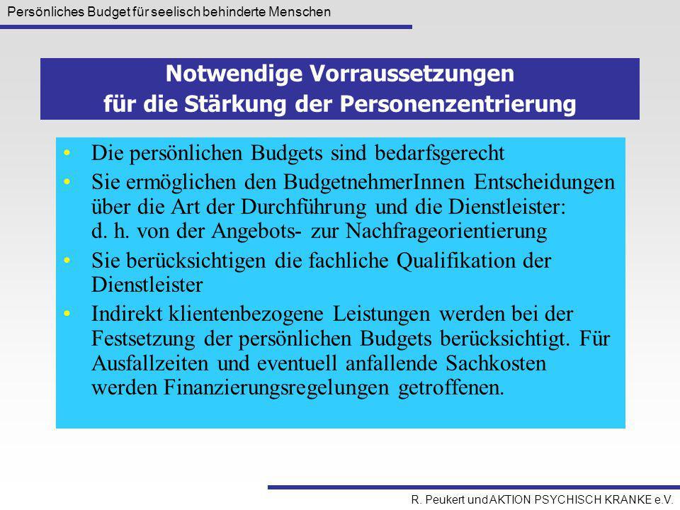 Persönliches Budget für seelisch behinderte Menschen R. Peukert und AKTION PSYCHISCH KRANKE e.V. Die persönlichen Budgets sind bedarfsgerecht Sie ermö