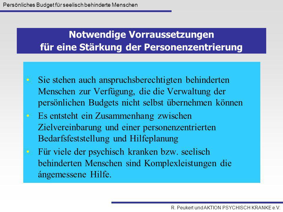 Persönliches Budget für seelisch behinderte Menschen R. Peukert und AKTION PSYCHISCH KRANKE e.V. Sie stehen auch anspruchsberechtigten behinderten Men