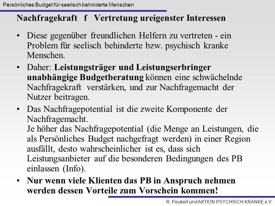 Persönliches Budget für seelisch behinderte Menschen R. Peukert und AKTION PSYCHISCH KRANKE e.V. Nachfragekraft f Vertretung ureigenster Interessen Di