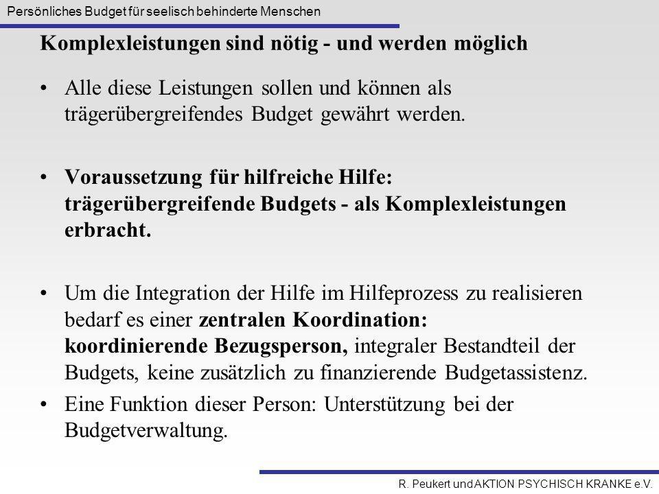 Persönliches Budget für seelisch behinderte Menschen R. Peukert und AKTION PSYCHISCH KRANKE e.V. Komplexleistungen sind nötig - und werden möglich All