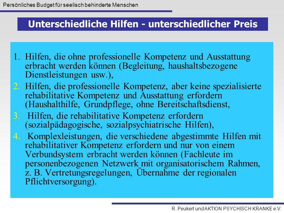 Persönliches Budget für seelisch behinderte Menschen R. Peukert und AKTION PSYCHISCH KRANKE e.V. 1.Hilfen, die ohne professionelle Kompetenz und Ausst