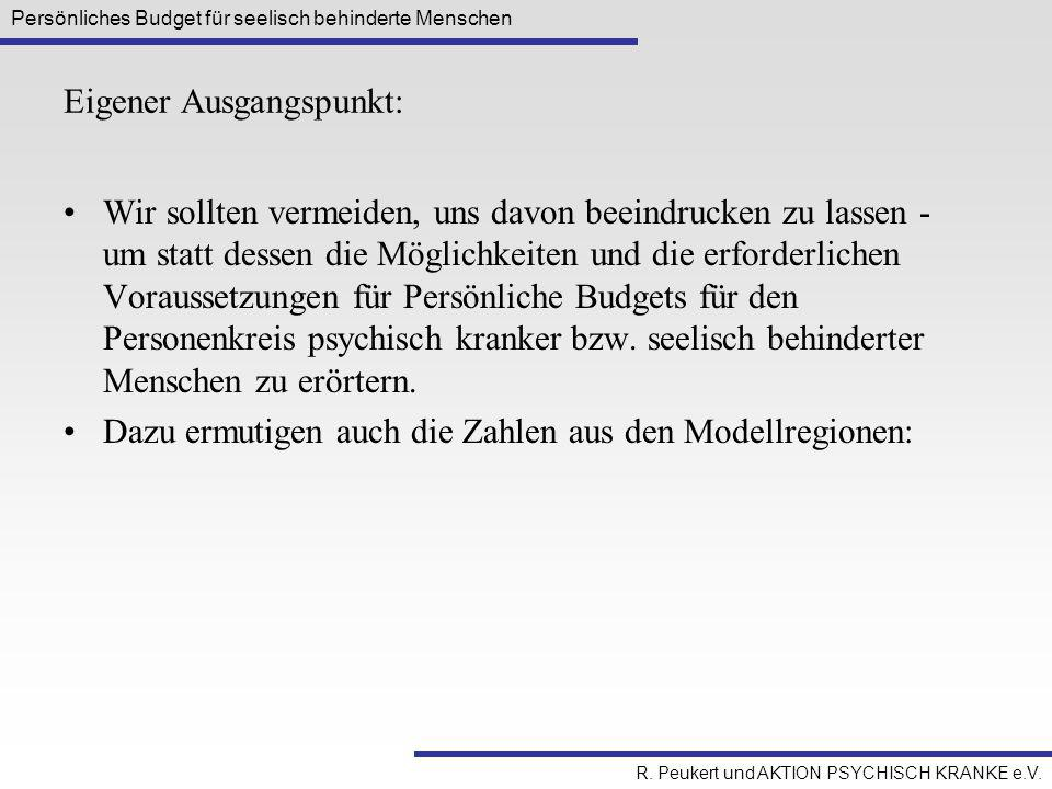 Persönliches Budget für seelisch behinderte Menschen R. Peukert und AKTION PSYCHISCH KRANKE e.V. Eigener Ausgangspunkt: Wir sollten vermeiden, uns dav