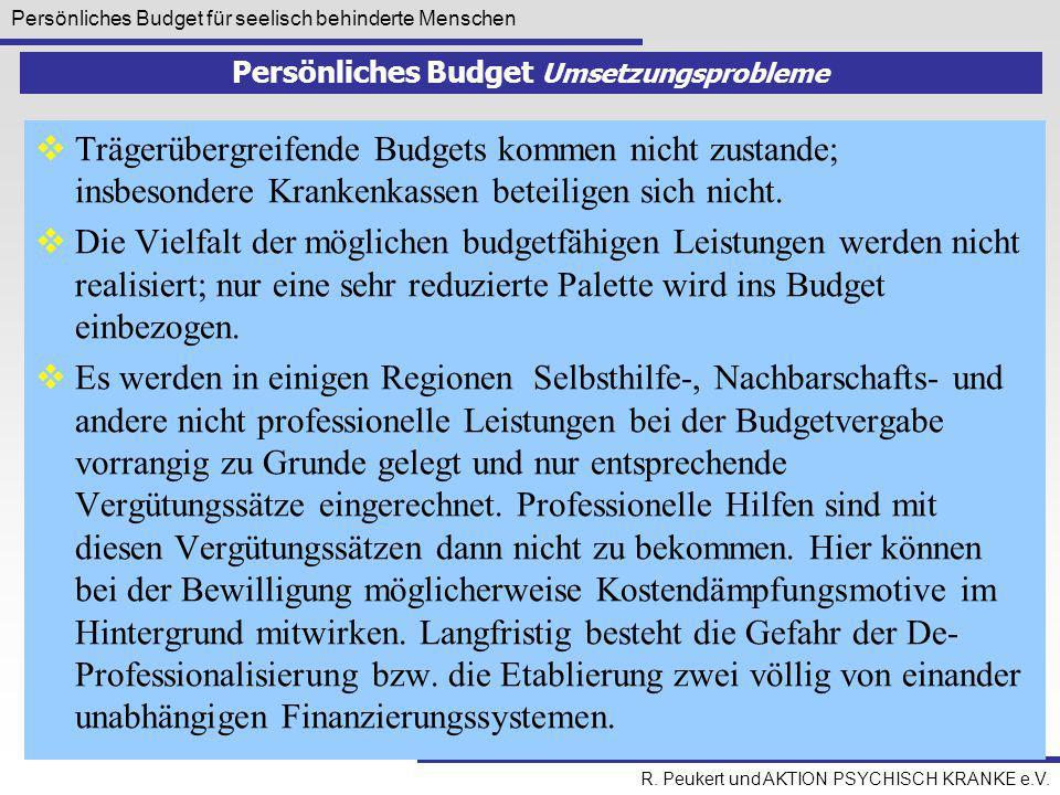 Persönliches Budget für seelisch behinderte Menschen R. Peukert und AKTION PSYCHISCH KRANKE e.V. Persönliches Budget Umsetzungsprobleme  Trägerübergr