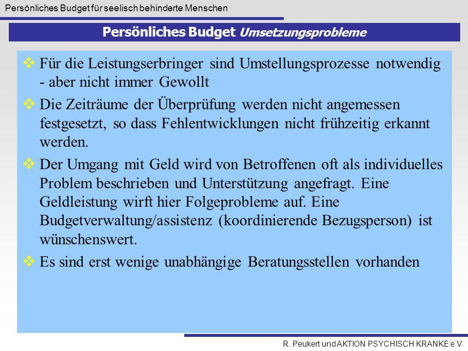 Persönliches Budget für seelisch behinderte Menschen R. Peukert und AKTION PSYCHISCH KRANKE e.V. Persönliches Budget Umsetzungsprobleme  Für die Leis