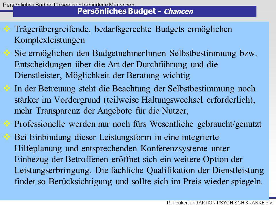 Persönliches Budget für seelisch behinderte Menschen R. Peukert und AKTION PSYCHISCH KRANKE e.V. Persönliches Budget - Chancen  Trägerübergreifende,