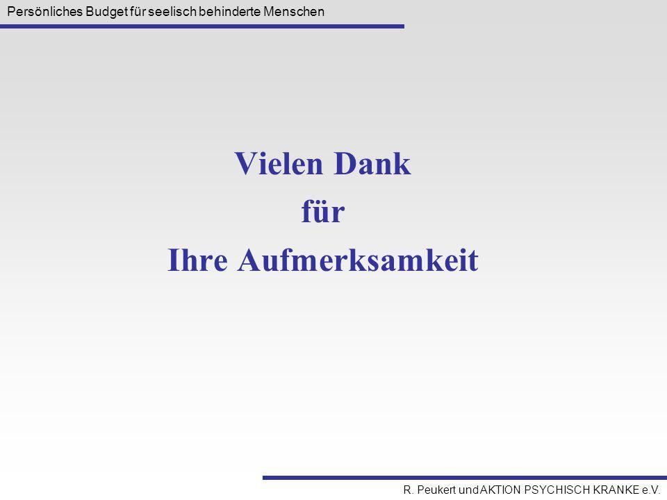 Persönliches Budget für seelisch behinderte Menschen R. Peukert und AKTION PSYCHISCH KRANKE e.V. Vielen Dank für Ihre Aufmerksamkeit