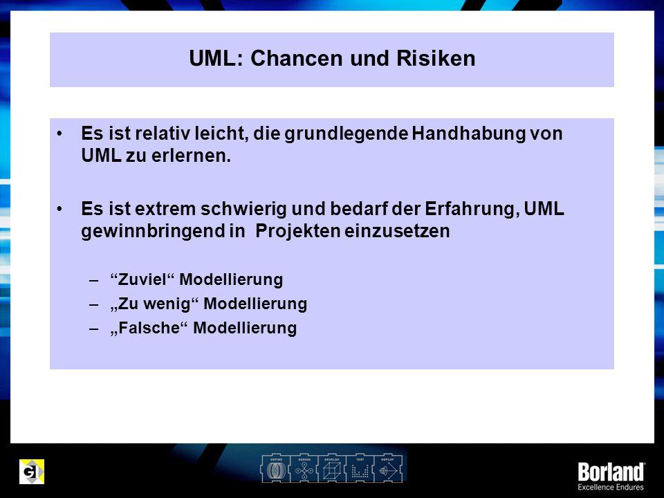 Es ist relativ leicht, die grundlegende Handhabung von UML zu erlernen. Es ist extrem schwierig und bedarf der Erfahrung, UML gewinnbringend in Projek