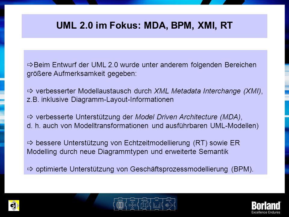  Beim Entwurf der UML 2.0 wurde unter anderem folgenden Bereichen größere Aufmerksamkeit gegeben:  verbesserter Modellaustausch durch XML Metadata I
