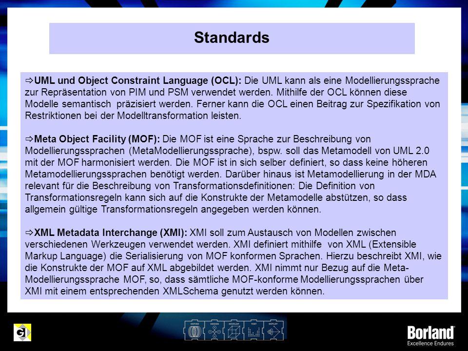 Standards  UML und Object Constraint Language (OCL): Die UML kann als eine Modellierungssprache zur Repräsentation von PIM und PSM verwendet werden.