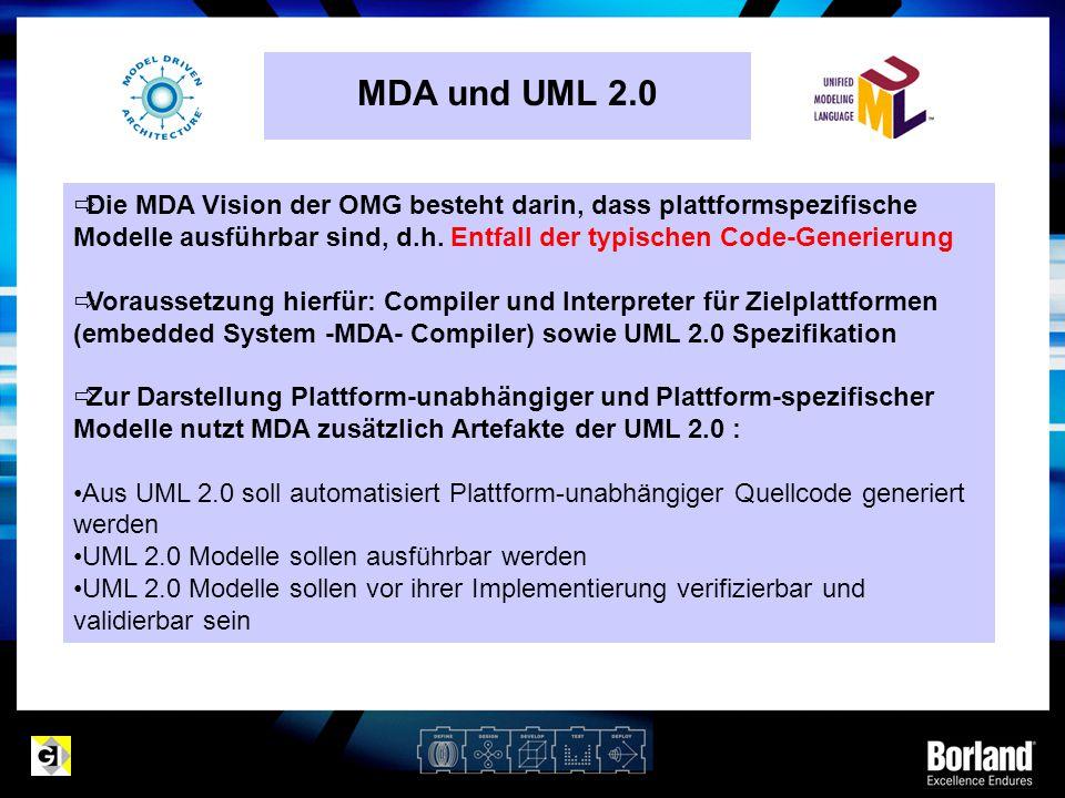MDA und UML 2.0  Die MDA Vision der OMG besteht darin, dass plattformspezifische Modelle ausführbar sind, d.h. Entfall der typischen Code-Generierung