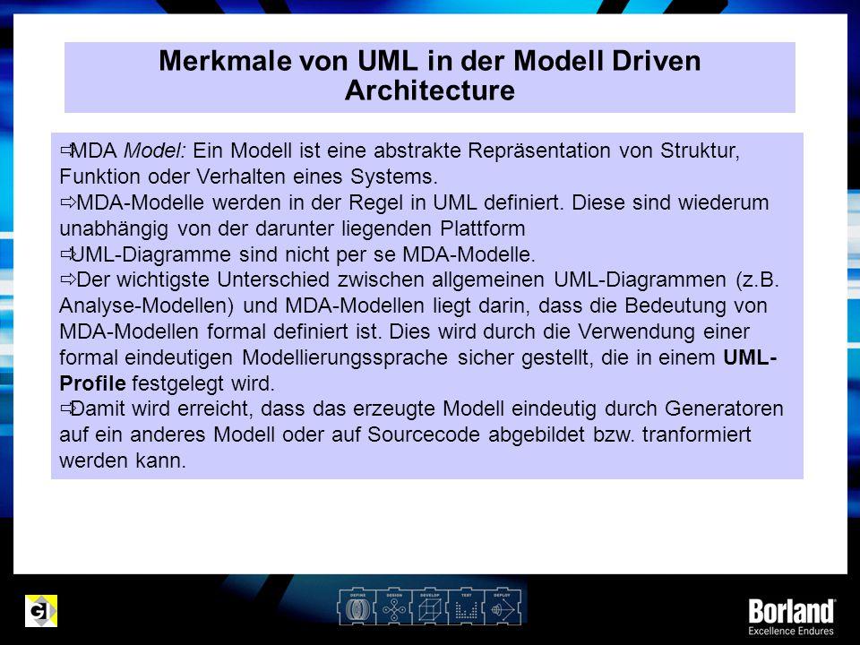 Merkmale von UML in der Modell Driven Architecture  MDA Model: Ein Modell ist eine abstrakte Repräsentation von Struktur, Funktion oder Verhalten ein