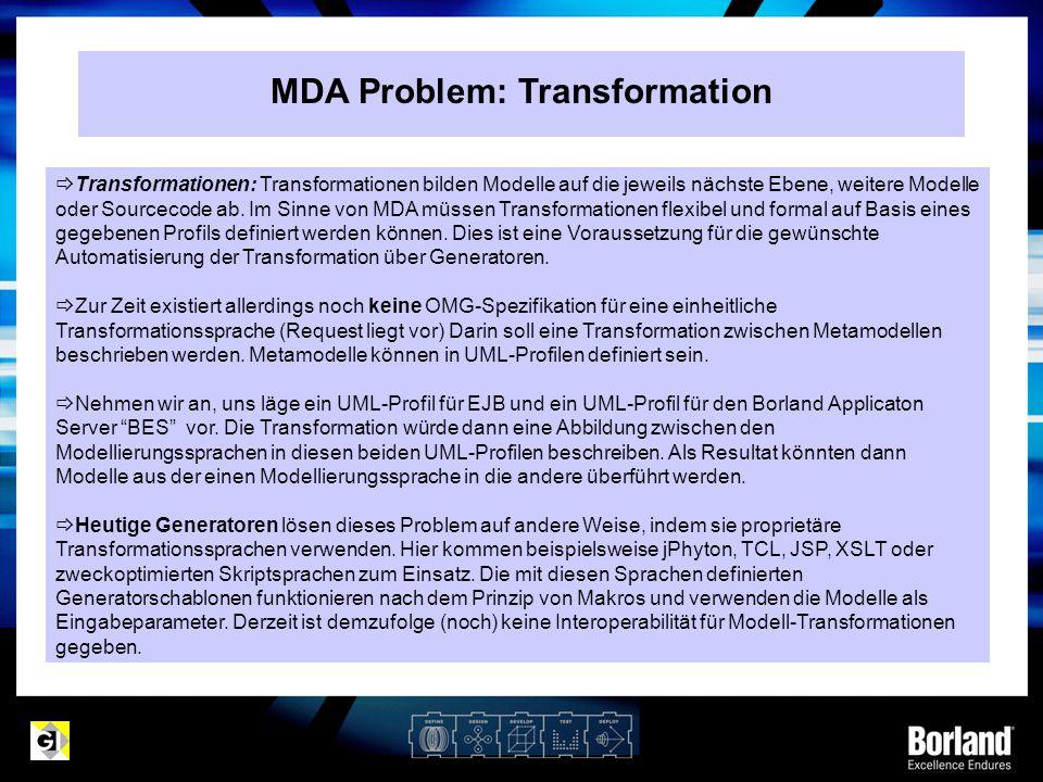 MDA Problem: Transformation  Transformationen: Transformationen bilden Modelle auf die jeweils nächste Ebene, weitere Modelle oder Sourcecode ab. Im