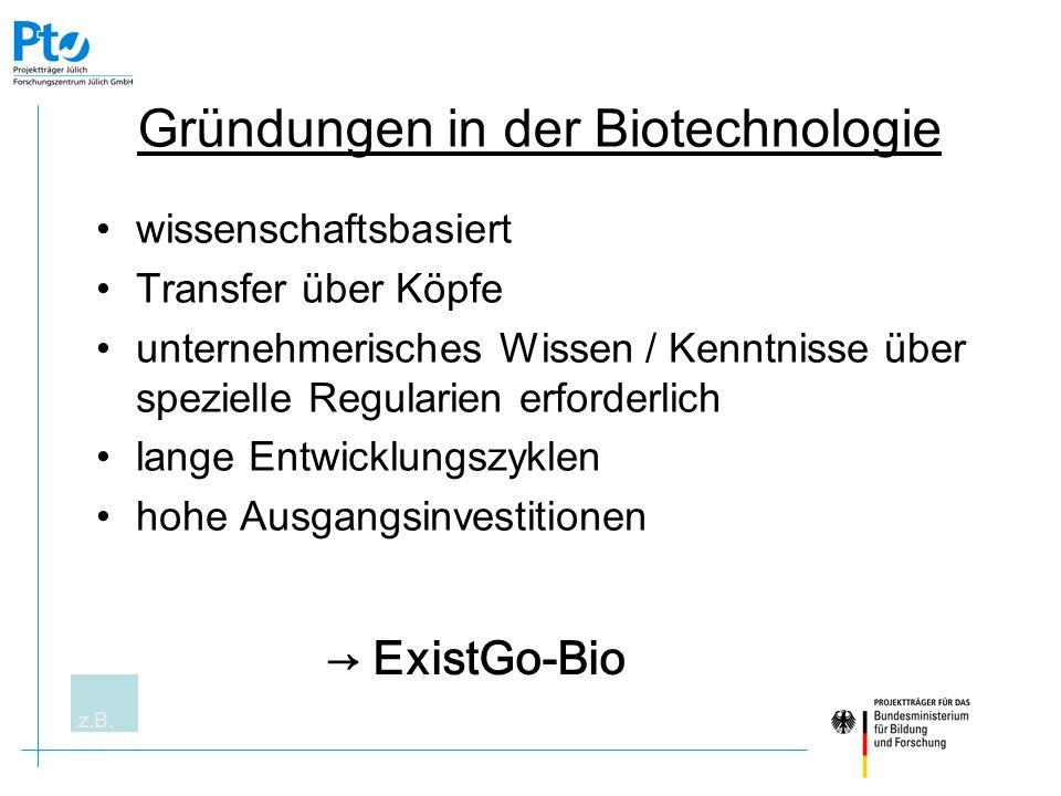 Ziele Zuwachs an Innovationspotential für Wissenschaft und Wirtschaft Neue Impulse für die biowissenschaftliche Forschung im Hinblick auf mittel- und langfristig relevante Anwendungsgebiete Förderung technisch-wiss.