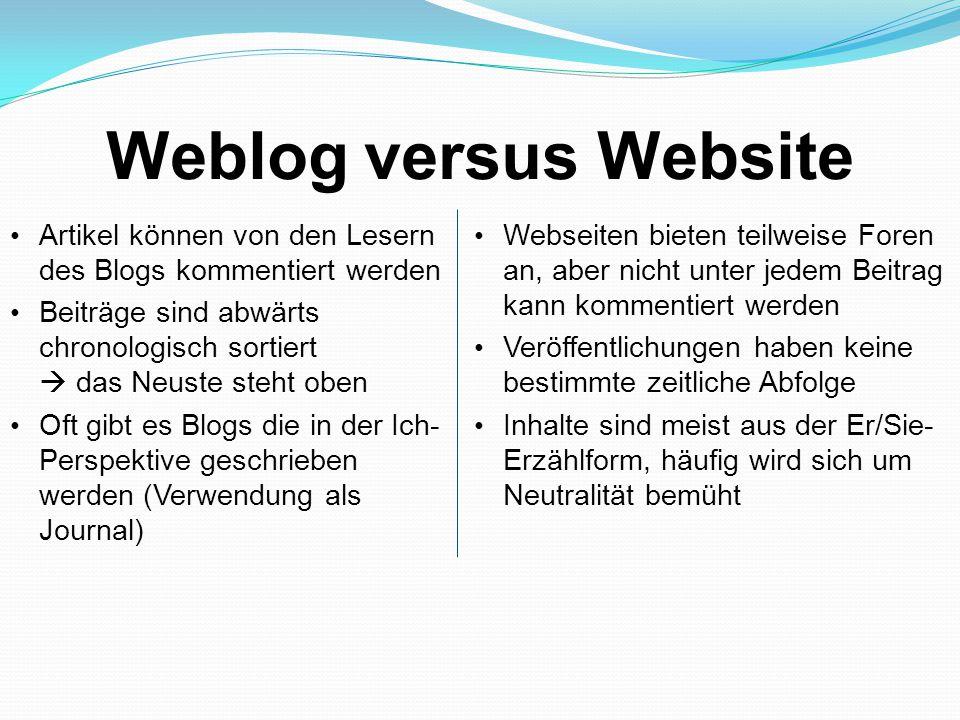 Weblog versus Website Artikel können von den Lesern des Blogs kommentiert werden Beiträge sind abwärts chronologisch sortiert  das Neuste steht oben Oft gibt es Blogs die in der Ich- Perspektive geschrieben werden (Verwendung als Journal) Webseiten bieten teilweise Foren an, aber nicht unter jedem Beitrag kann kommentiert werden Veröffentlichungen haben keine bestimmte zeitliche Abfolge Inhalte sind meist aus der Er/Sie- Erzählform, häufig wird sich um Neutralität bemüht