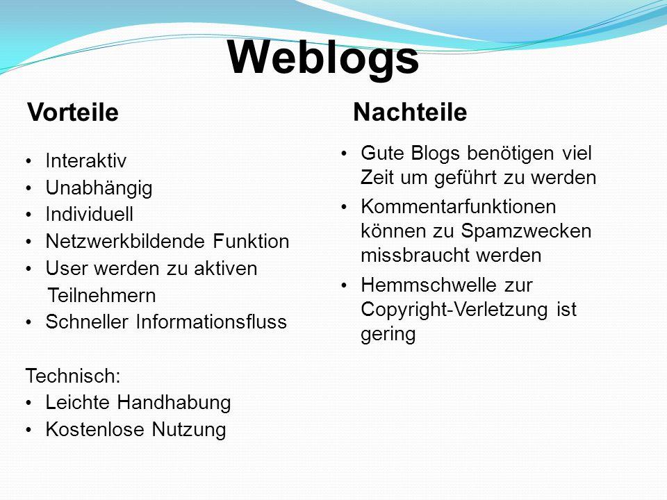 Weblogs Vorteile Nachteile Interaktiv Unabhängig Individuell Netzwerkbildende Funktion User werden zu aktiven Teilnehmern Schneller Informationsfluss